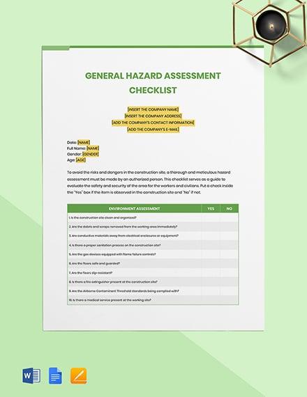 General Hazard Assessment Checklist Template