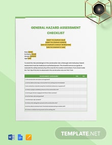 General Hazard Assessment Checklist Template
