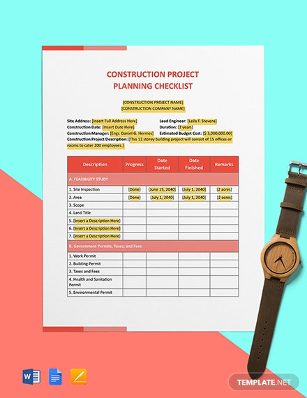 Construction Project Planning Checklist Template