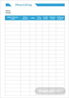 Phone Call Log Form Template