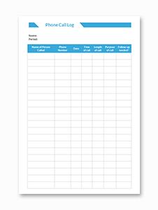 Phone Call Log Form Template