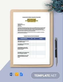 Construction Safety Inspection Checklist Template