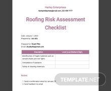 Roofing Risk Assessment Checklist Template