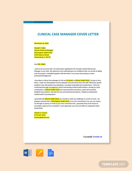 Free Clinical Case Manager Cover Letter Template