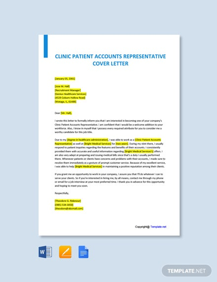 Free Clinic Patient Accounts Representative Cover Letter Template