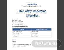 Site Safety Inspection Checklist Template
