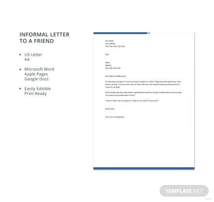 Informal letter to a friend template download 700 letters in word informal letter to a friend template download 700 letters in word pages google docs template spiritdancerdesigns Gallery