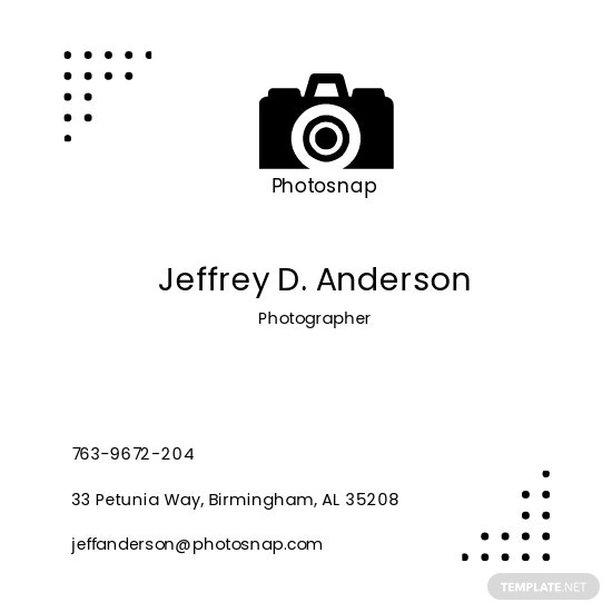 Photo snap Business Card Square Template 1.jpe