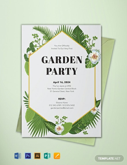 free garden party invitation template  download 884