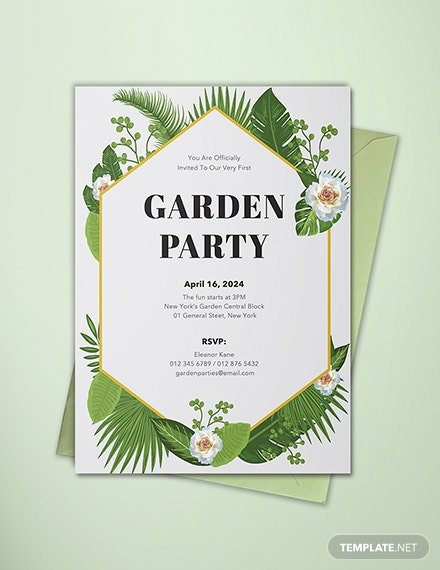 free garden party invitation template  download 508