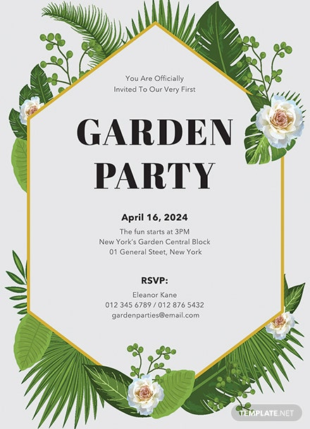 Free Garden Party Invitation Template: Download 344 ...