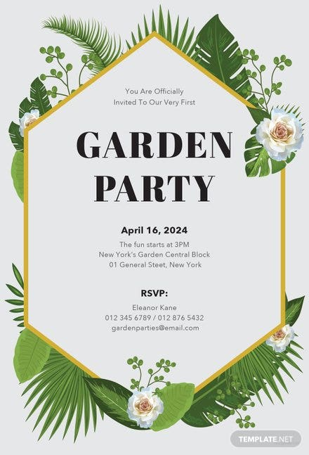 free garden party invitation template in microsoft word