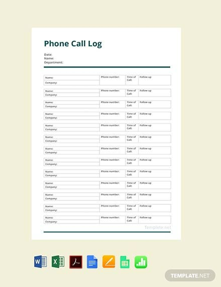 Free Phone Call Log Template
