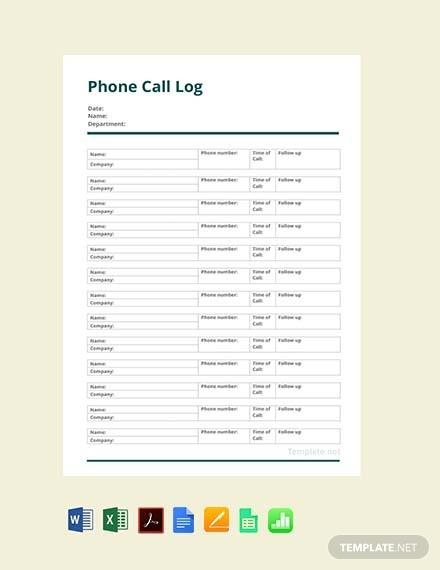 Free Phone Call Log Template
