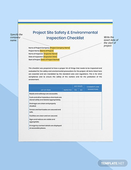 Project Site Safety  Environmental Inspection Checklist Format