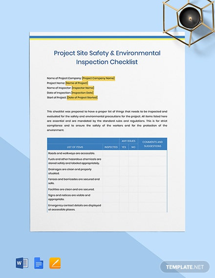 Project Site Safety  Environmental Inspection Checklist Template