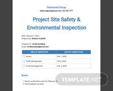 Project Site Safety & Environmental Inspection Template