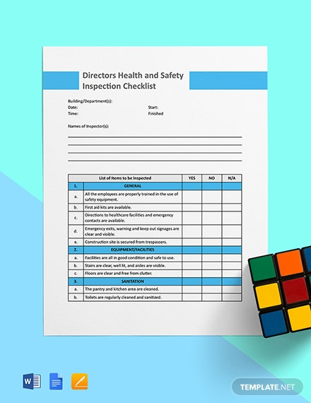 Directors Health and Safety Inspection Template