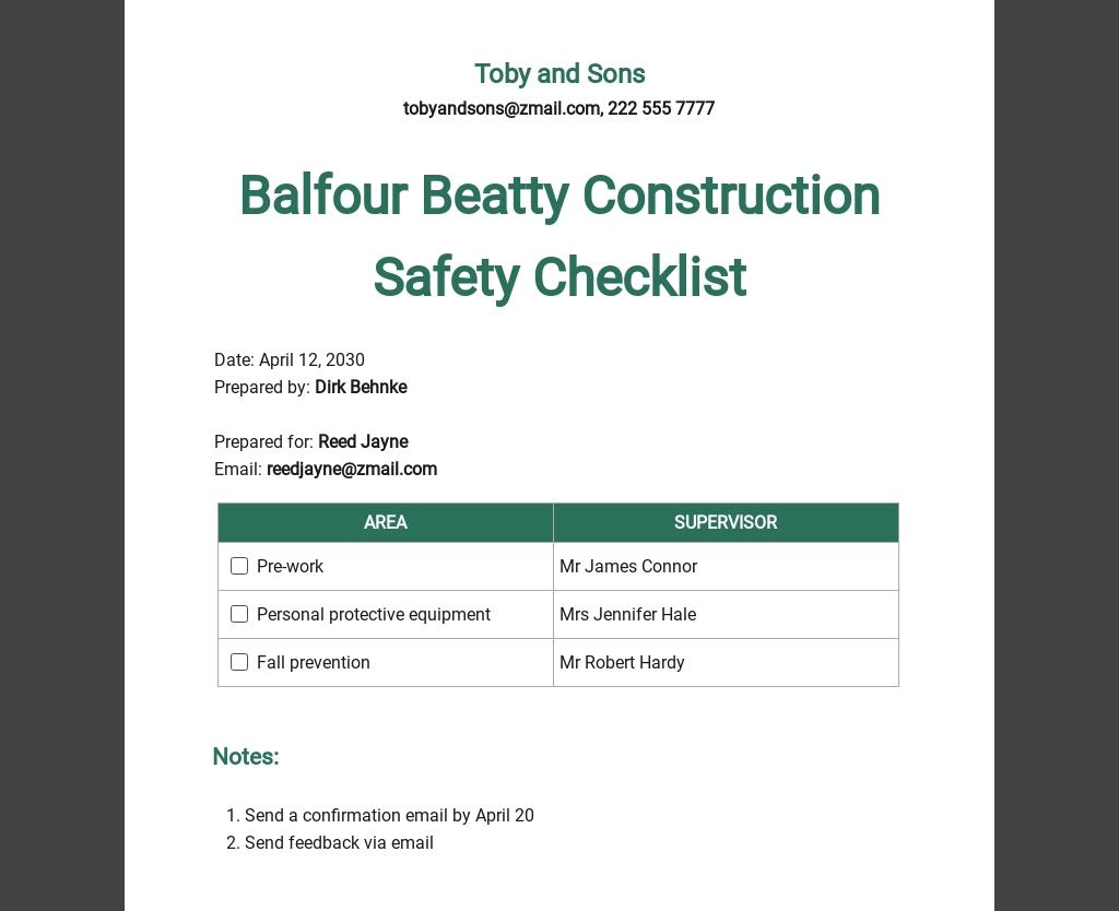 Balfour Beatty Construction Safety Checklist Template
