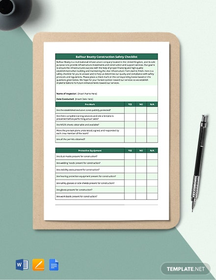 Balfour Beatty Construction Safety Checklist Template