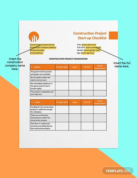 Construction Project Startup Checklist Sample