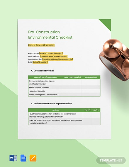 Pre-Construction Environmental Checklist Template