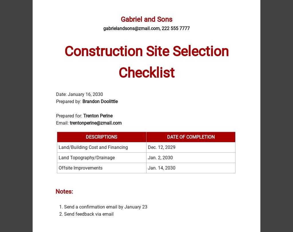 Construction Site Selection Checklist Template