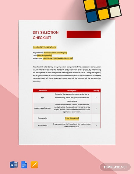 Construction Site Selection Checklist Template