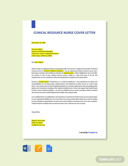 Free Clinical Resource Nurse Cover Letter Template