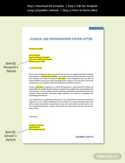 Clinical SAS Programmer Cover Letter Template