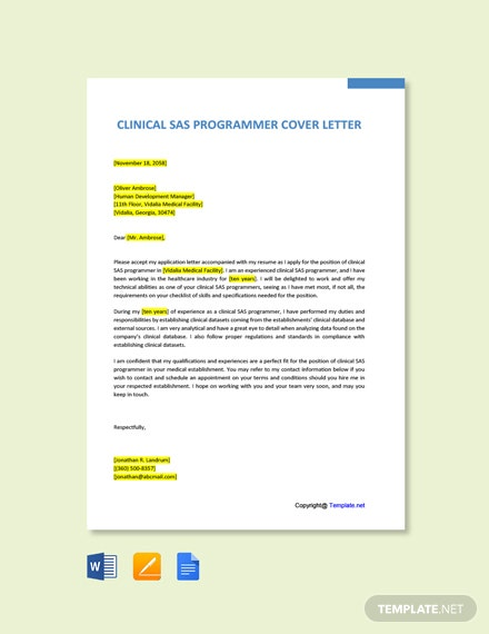 Clinical SAS Programmer Cover Letter