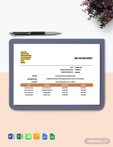 Construction Bid Worksheet Template