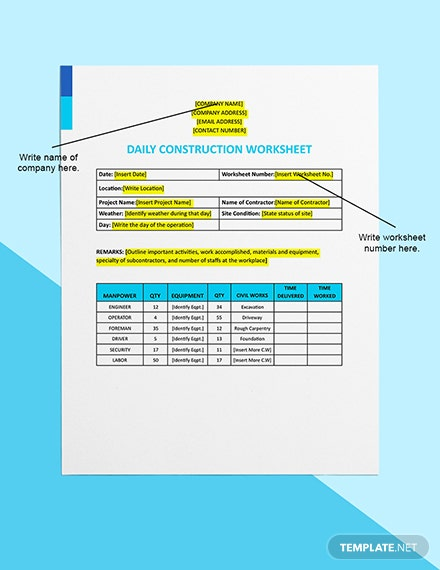 Daily Construction Worksheet Download