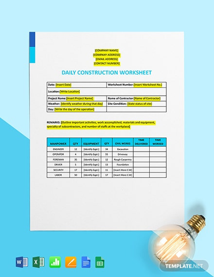 Daily Construction Worksheet Template