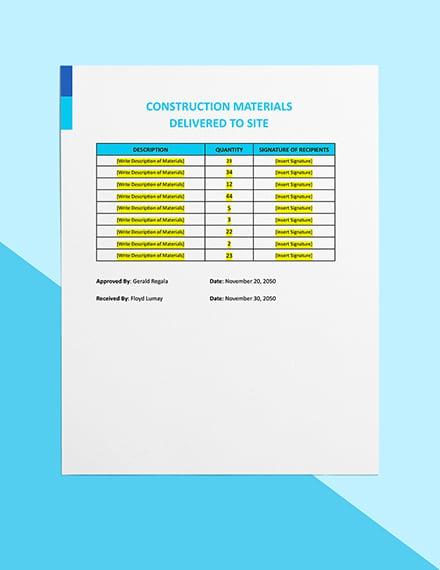 Daily Construction Worksheet Sample