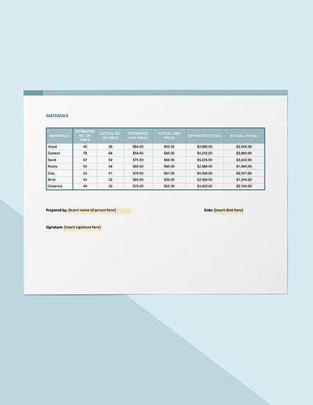 Construction Budget Worksheet Format