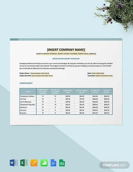 Construction Budget Worksheet Template