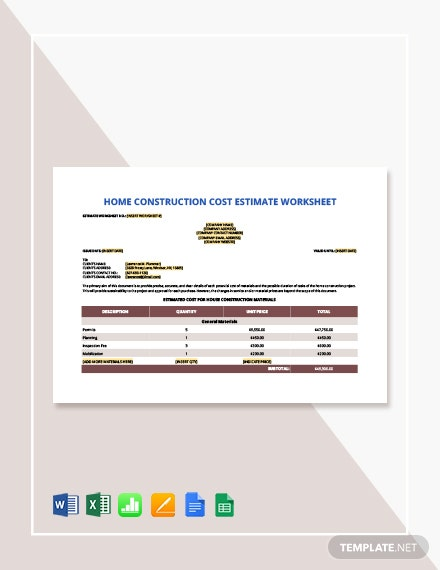 Home Construction Cost Estimate Worksheet Template