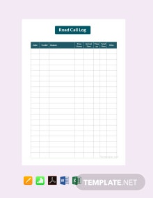 Free Road Call Log Template