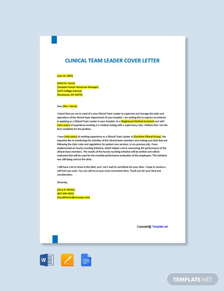Free Clinical Team Leader Cover Letter Template
