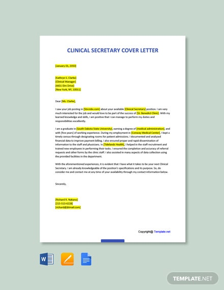Free Clinical Secretary Cover Letter Template