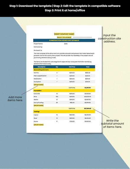Construction House Cost Estimate Format
