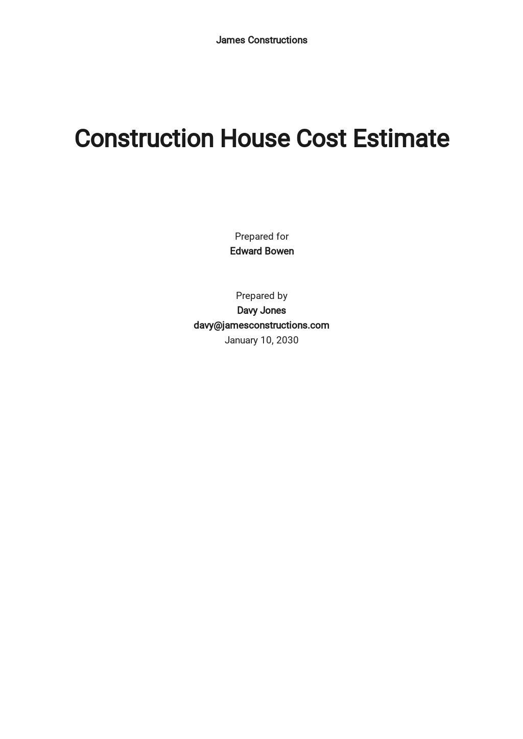 Construction House Cost Estimate Template
