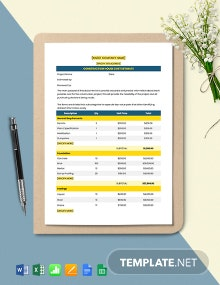 Construction House Cost Estimate Template
