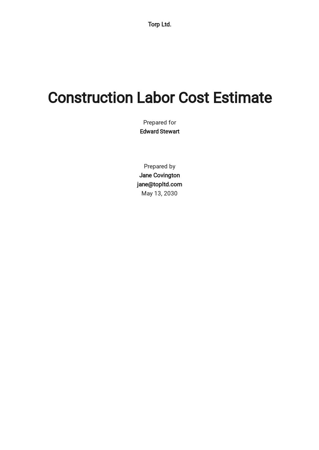 Construction Labor Cost Estimate Template