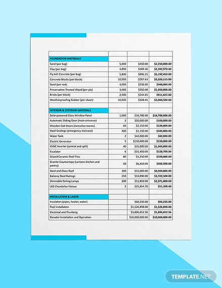 Building Construction Cost Estimate Download