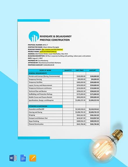 Building Construction Cost Estimate Template