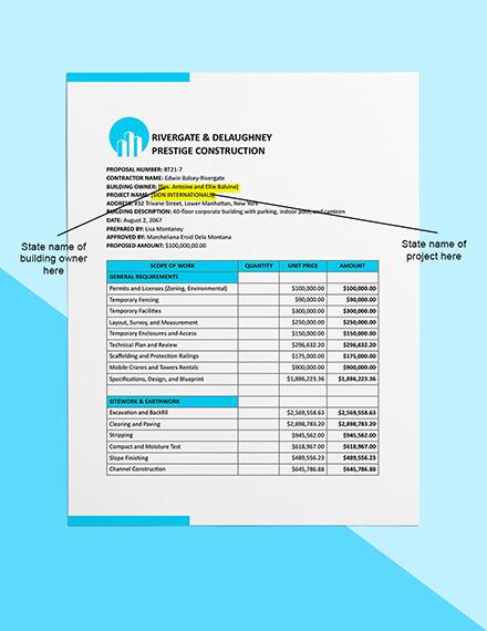 Building Construction Cost Estimate Sample
