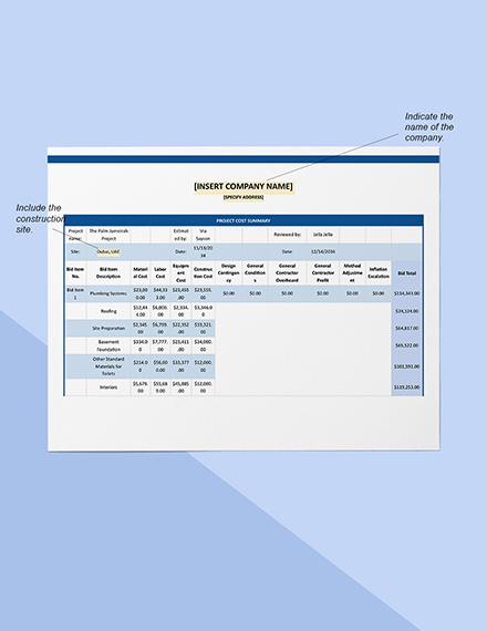 Construction project cost estimate Sample