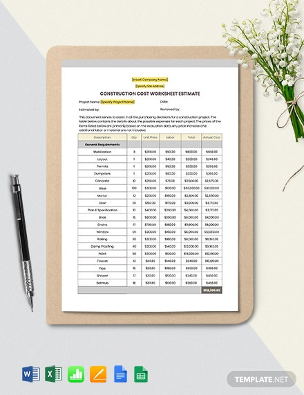 Construction Cost Estimate Worksheet Template